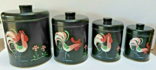 Vintage Hand Painted Ransburg Canister Set Black with Pink Roosters