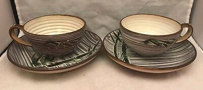 Pair Ucagco Occupied Japan Coffee Cups & Saucers - Bamboo Pattern 1940s 1950s