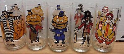 """McDonalds Lot of 5 1970's Collectors Series 6"""" Glasses 082117DBT2"""