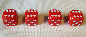 4 X Dice Dust Valve Caps Red White Blue Pink Orange Ivory Black Purple Green