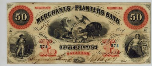 1860 Savannah Georgia THE MERCHANTS AND PLANTERS BANK $50 Obsolete Currency
