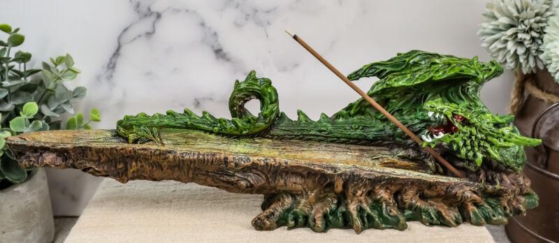 Ebros Green Earth Dryad Tree Greenman Dragon Incense Holder Burner Figurine