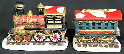 TRAIN CAR SET engine caboose Christmas VILLAGE SQUARE Mervyn's 2 pieces ONLY