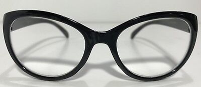 Betsey Johnson Reading Glasses Solid Black Large Cateye Frame Readers +2.50