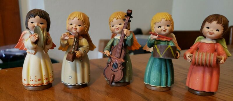 """VINTAGE ANRI TORIART Set of 5 Angel Musicians 3.5"""" Hand Painted. (A)"""
