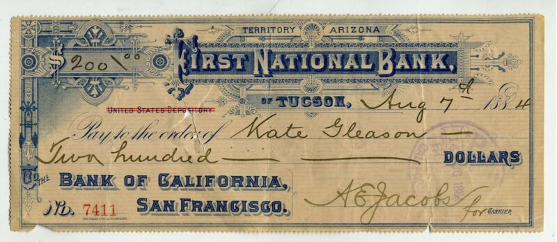 CHECK – ARIZONA TERRITORY – TUCSON - FIRST NATIONAL BANK - 1884