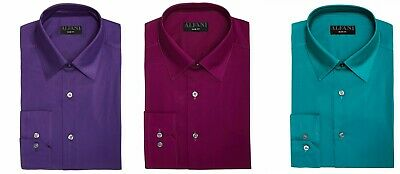 ALFANI Men's SLIM-FIT STRETCH LONG-SLEEVE DRESS SHIRT Solid -