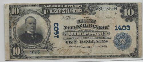 RARE 1902 FIRST NATIONAL BANK of Winterset, IOWA Ch 1403 Serial 4683