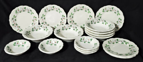 SYRACUSE CHINA 17 pc DOGWOOD Plates Bowls RESTAURANT WARE cereal fruit bread