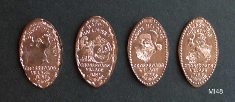 MI48 -Crossroads Village Michigan 4 elongated pennies copper Halloween Christmas