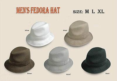 New Men's Fedora Trilby Hat Color White/Khaki/Brown/Gray/Black Size M L XL