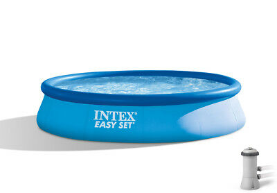 "Intex 15' x 33"" Easy Set Swimming Pool with 530 GFCI GPH Filter Pump 28157EH"