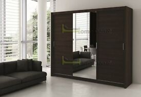 *14-DAY MONEY BACK GUARANTEE!* 3 Door Monaco Sliding Wardrobe Cupboard with Full Mirror
