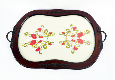 Wood And Glass Serving Tray With Floral EMBROIDERED Interior Base