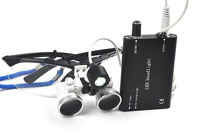 Black Dental Surgical Loupes 3.5x420mm Optical Glass With Led Head Light Lamp Ce