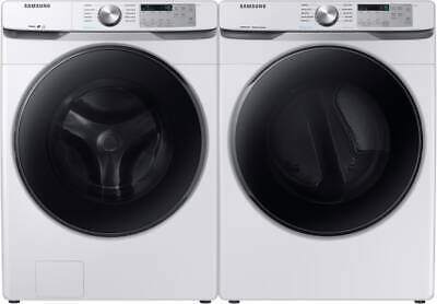 Samsung WF45R6100AW Washer & DVG45R6100W Gas Dryer White Side-by-Side Front Load
