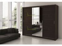 **7-DAY MONEY BACK GUARANTEE!** 3 Door Luxury Sliding Wardrobe Cupboard with Full Mirror