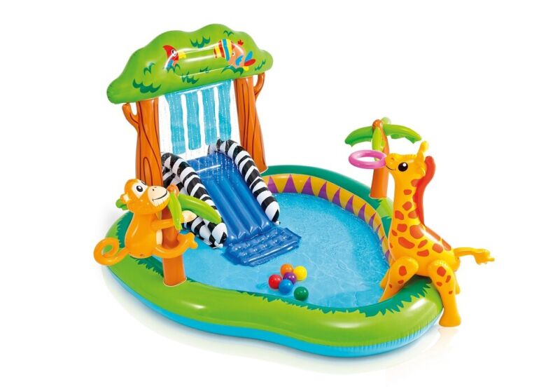 ***USEDNO RETAIL BOX Jungle Play Center Inflatable Pool with Sprayer