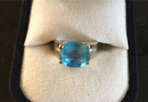 Beautiful Blue Topaz Ring Size 5 white 10K Gold