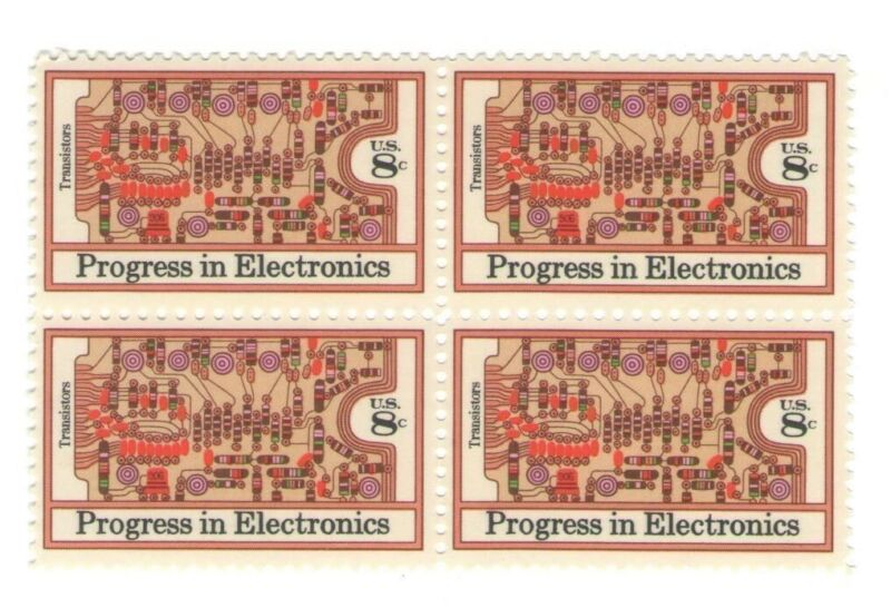 Transistors Bell Labs Circuit Board 44 Yr Old Mint Vintage Stamp Block from 1973