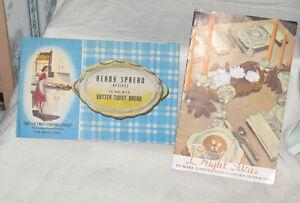 HARRIS-BOYER-READY-SPREAD-RECIPES-BUTTER-TWIST-BREAD-ADVERTISING-BOOKLET-LOT-2