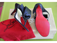 Women's Christian Louboutin black silk slip on heels/sandals red sole 37/4 worn once box/bag