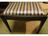 A NICE DARK WOOD & STRIPE MATERIAL STAGG DRESSING TABLE STOOL