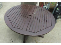 round wooden garden table dining TOP ONLY NO LEGS