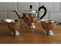Vintage Art Deco Three Piece Silver Plated Tea Set. Sheffield VGC