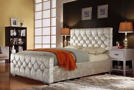DOUBLE OR KING SIZE CHESTERFIELD BED WITH SINGLE ORTHOPAEDIC MATTRESS - AVAILABLE IN COLORS