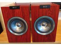 KEF R100 BOOKSHELF SPEAKERS IN ROSEWOOD FINISH (PAIR) BOXED & GC, RRP £599