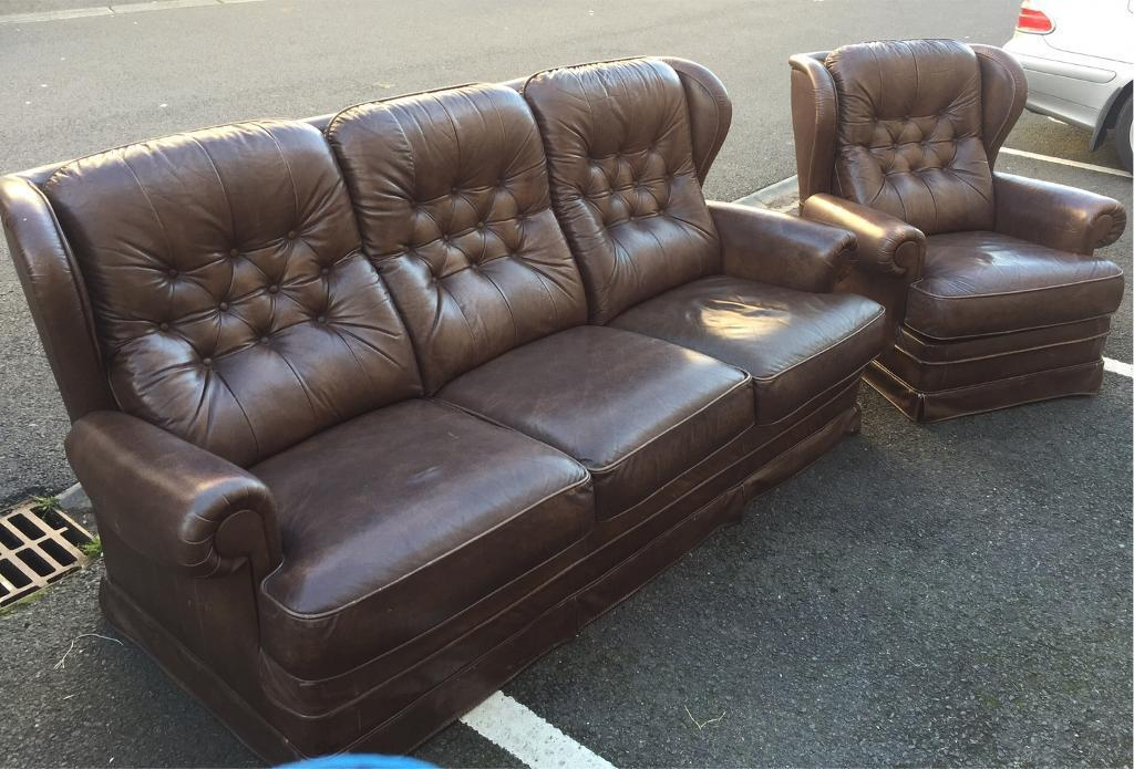 Chesterfield Style Sofa And Chair In Dunmurry Belfast