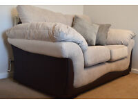 Details about 3 Seater 2 Seater Footstool Wyndham DFS Beige Sofa Silver Combination