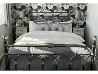 Double bed polished nickel with crystal finials (including memory foam mattress)