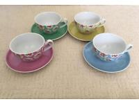 NEW Cath Kidston Provence Rose cup and saucer 8 piece set £30