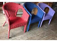 Set Of Three Colourful Wicker Chairs