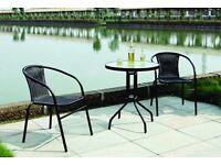 Garden Patio All Weather Black Wicker 3 Piece Bistro Set Patio Outdoor Furniture