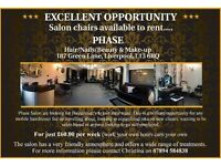 Hairdresser & Nail Technician required to rent in Phase Salon