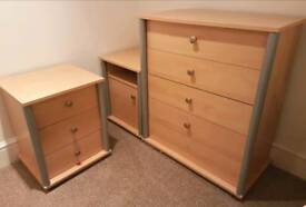 Beech Effect Wardrobe Bedside Cabinets Chest of Drawers