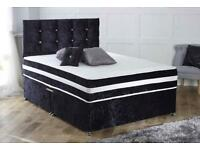 4ft6 Double divan bed with headboard and mattress in crushed velvet black