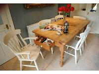 Gorgeous chunky farmhouse pine table with draw and brass handle plus 6 lovely beech farmhouse chairs