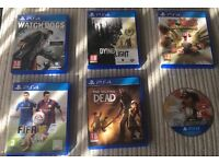 White PS4 with 6 games