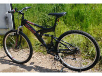 "Trax TFS.D1 disc full suspension mountain bike, 18.5"" frame, 18 gears, 26"" wheels, black mtb"