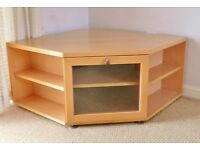 Maple Effect TV / Television Corner Unit / Cabinet Stand with Shelves for DVDs & DVD Blu Ray Player