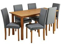 Ashdon Solid Wood Table & 6 Mid Back Chairs - Grey
