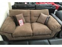 DFS brown cord fabric large 2 seater sofa bed