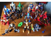 Large box of Lego Bionicles and knights, figures mostly complete.