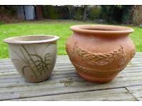 Two attractive garden pots