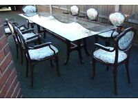 retro vintage shabby chic glass top dining table and eight matching bent wood chairs