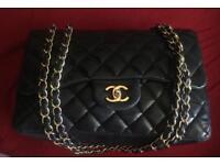 Authentic Chanel single flap jumbo lambskin bag